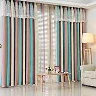 2パネル ウィンドウトリートメント 欧風 , 縞柄 ベッドルーム リネン/コットン混 材料 遮光カーテンドレープ ホームデコレーション For 窓