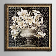 Landschaft Blumenmuster/Botanisch Gerahmtes Leinenbild Gerahmtes Set Wandkunst,PVC Stoff Goldfarben Passpartout inklusive Mit Feld For