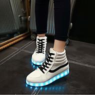 Feminino-Tênis-Solados com Luzes Light Up Shoes-Rasteiro-Branco Preto-Courino-Casamento Ar-Livre Escritório & Trabalho Social Casual Para