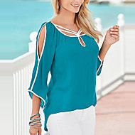 Women's Going out Casual/Daily Holiday Sexy Simple Street chic Off-the-shoulder All Match Spring Fall T-shirtColor Block Round Neck  Sleeve Medium