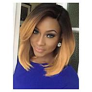 naturlig bobo delvis frynse middels lang gradient farge menneskelig hår parykk elegant kvinnes hår