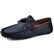 Men's Loafers & Slip-Ons Spring Summer Fall Moccasin Leather Outdoor Office & Career Casual Flat Heel Lace-up Burgundy Blue Brown Black