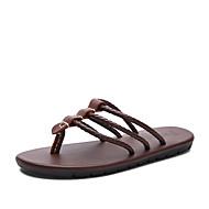 Herren Slippers & Flip-Flops Komfort Leder Frühling Sommer Herbst Normal Kleid Wasser-Schuhe Schwarz Hellbraun 2,5 - 4,5 cm