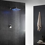 Contemporaneo Art déco/Retrò Modern Montaggio su parete LED Termostatico Doccia a pioggia with  Valvola in ottone Una manopola Due fori