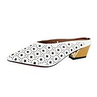 Damen Slippers & Flip-Flops Sandalen Fersenriemen Kunstleder Sommer Outddor Kleid Lässig Ausgehöhlt Blockabsatz Weiß Schwarz 2,5 - 4,5 cm