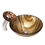 Antik Rundförmig Material der Becken ist Hartglas Waschbecken für Badezimmer