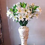 1 ענף פוליאסטר חבצלות פרחים לשולחן פרחים מלאכותיים