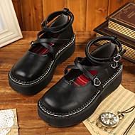 Черный-Для женщин-Повседневный-Полиуретан-На толстом каблуке-Босоножки-На плокой подошве
