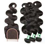 Cabelo Humano Ondulado Cabelo Brasileiro Onda de Corpo 18 Meses 4 Peças tece cabelo
