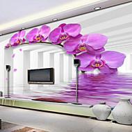 Virágos 3D Wallpaper Otthoni Kortárs Falburkolat , Vászon Anyag ragasztószükséglet Falfestmény , szoba Falburkoló