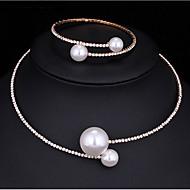 Komplet nakita Igazgyöngy nyaklánc Imitacija Pearl Kubični Zirconia Moda Multi-načina Nosite Legura Round Shape Pink 1 Ogrlica 1 narukvica