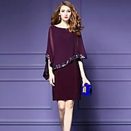 Mousseline de Soie Robe Femme Sortie Grandes Tailles Chic de Rue,Mosaïque Col Arrondi Mi-long ½ Manches Nylon Eté Taille Normale