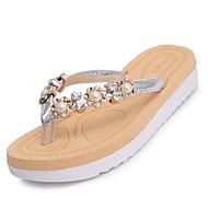 Γυναικείο Παντόφλες & flip-flops Περπάτημα Ανατομικό αδέξιος μπότες PU Καλοκαίρι Causal Πέρλες Επίπεδο Τακούνι Μαύρο Ασημί Επίπεδο