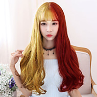 Women Synthetic Wigs Japan and South Korea fashion long gold mixed red Bang Wavy Heat Friendly Fiber wig