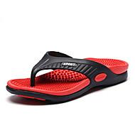 슬리퍼 플립 플롭-야외 캐쥬얼-남성-컴포트 조명 신발-가죽 마이크로 섬유-플랫-오렌지 옐로우 브라운 레드 그린