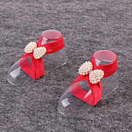 Kids Fabric Plastic Baby Pearl Shoes Handmade Flowers One Pair Feet Foot Chains Anklets