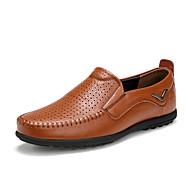 Masculino-Oxfords-Conforto Mocassim Buraco Shoes-Rasteiro--Pele-Escritório & Trabalho Casual Festas & Noite