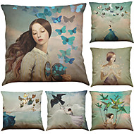 Set of 6 Nordic Fashion Butterfly Girl  Pattern Linen Pillowcase Sofa Home Decor Cushion Cover  Throw Pillow Case (18*18inch)