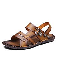 Men's Sandals Spring Summer Comfort PU Casual Flat Heel Beading Khaki Dark Brown Navy Blue