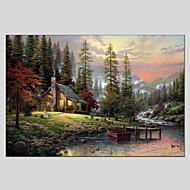 Kézzel festett Landscape Vízszintes Panorámás,Modern Klasszikus Egy elem Vászon Hang festett olajfestmény For lakberendezési