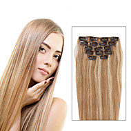 7 Pcs/Set P27/613 Mixed Strawberry Bleach Blonde Clip In Hair Extensions Piano Color 14Inch 18Inch 100% Human Hair