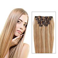 7 pcs / p27 / 613 혼합 딸기 금발 머리 클립에 클립 피아노 색 14inch 18inch 100 % 인간의 머리카락