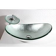 Zeitgenössisch Rechteckig Material der Becken ist Hartglas Waschbecken für Badezimmer