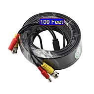 yanse®30メートル100フィートbncビデオおよび電源12v DCケーブル(セキュリティシステム監視用)
