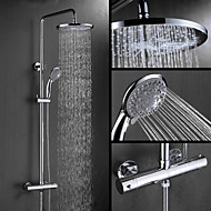 Contemporary Wall Mounted Thermostatic with  Ceramic Valve Two Handles Three Holes for  Chrome , Shower Faucet