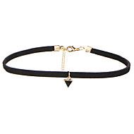 Women's Triangle Pendant Choker Necklaces Jewelry Geometric Velvet Alloy Basic Dangling Style Multi-ways Wear Black Jewelry ForWedding Halloween