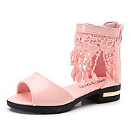 בנות סנדלים נוחות נעליים לילדת הפרחים PU קיץ שמלה יומיומי מסיבה וערב רוכסן פרנזים עקב עבה לבן שחור ורוד שטוח