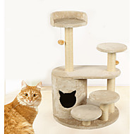 Kattelegetøj Kæledyrslegetøj Interaktivt Holdbar Kradsebræt Træ Plysset Beige