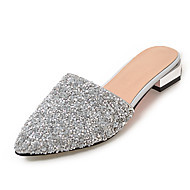 Women's Slippers & Flip-Flops Sandals Slingback Synthetic Summer Fall Dress Casual Sequin Low Heel White Silver Under 1in
