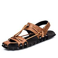 Men's Sandals Spring Summer Fall Comfort Cowhide Outdoor Office & Career Dress Casual Light Brown Black Water Shoes