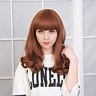 New Arrival Brown Color Long Wave Women Wig Heat Resisting Syntheitc Wig