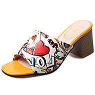 Ženske Papuče i japanke PU Ljeto Hodanje Kombinacija materijala Ravna potpetica Crvena Zelen 5 cm - 7 cm