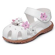 Para Meninas Sandálias Courino Verão Outono Laço Apliques Velcro Rasteiro Branco Pêssego Rosa claro Rasteiro