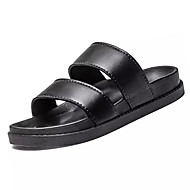 Men's Sandals Comfort PU Summer Outdoor Flat Heel Black White Flat