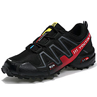 Men's Athletic Shoes Comfort PU Tulle Spring Fall Outdoor Athletic Running Lace-up Flat Heel Black/Red Gray Dark Blue Under 1in