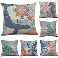 Set of 6 Aquatic Creature Pattern Linen Pillowcase Sofa Home Decor Cushion Cover  Throw Pillow Case (18*18inch)