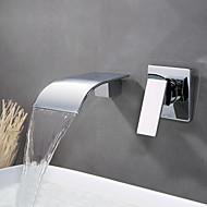 Moderne Vægmonteret Vandfald Vægmontering with  Keramik Ventil Enkelt håndtere to Huller for  Krom , Håndvasken vandhane