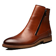 Men's Boots Comfort Novelty Leather Fall Winter Party & Evening Walking Comfort Novelty Zipper Flat Heel Brown Black Flat