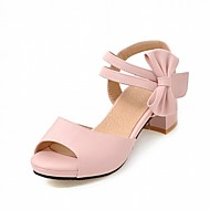 Ženske Sandale Umjetna koža PU Ljeto Jesen Hodanje Mašnica Kockasta potpetica Crn Bež Crvena Pink 2.5 cm - 4.5 cm