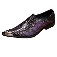 Miehet Mokkasiinit Kävely Comfort Uutuus muodollinen Kengät Nahka Kevät Syksy Häät Juhlat Teräskärkiset Tasapohja Purppura Tasapohja