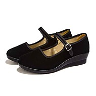Women's Flats Comfort Fabric Spring Fall Athletic Casual Hook & Loop Wedge Heel Black Flat