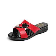 Для женщин Тапочки и Шлепанцы Лакированная кожа Весна Лето Стразы На низком каблуке Черный Красный Синий 2,5 - 4,5 см