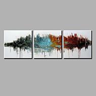Maalattu AbstraktiNykyaikainen 3 paneeli Hang-Painted öljymaalaus For Kodinsisustus