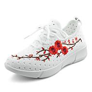 Women's Mesh Sneakers Retro Tulle Spring Summer Casual Flat Heel Black White Flat