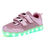 Infantil Tênis Tênis com LED Paetês Primavera Outono Casual Caminhada Tênis com LED LED Rasteiro Dourado Rosa claro Rasteiro