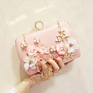 Women Evening Bag PU All Seasons Wedding Event/Party Party & Evening Baguette Flower Magnetic Apricot Pale Pink Black White
